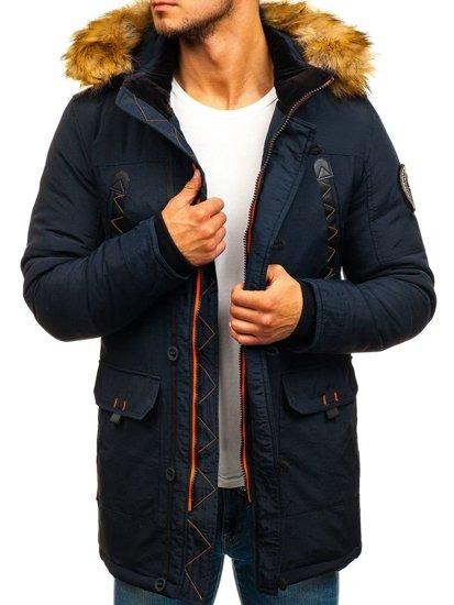 Tmavomodrá pánska zimná bunda parka BOLF 5312