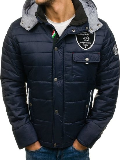 Tmavomodrá pánska športová zimná bunda BOLF 77