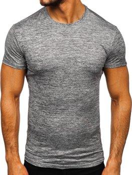 Antracitové pánske tričko bez potlače Bolf S01