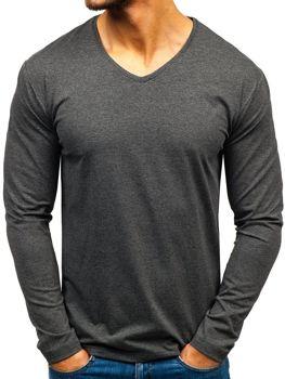 Antracitové pánske tričko s dlhými rukávmi bez potlače BOLF 172008