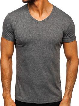 Antracitové pánske tričko s výstrihom do V bez potlače Bolf 2007