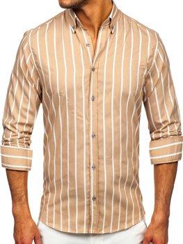 Béžová pánska pruhovaná košeľa s dlhými rukávmi Bolf 20730