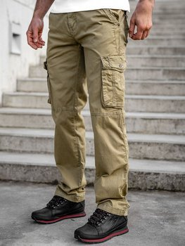 Béžové pánske kapsáčové nohavice s opaskom Bolf CT8906