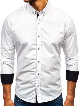Biela pánska elegantá košeľa s dlhými rukávmi BOLF 8820