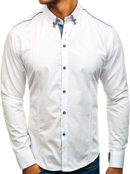 Biela pánska elegantá košeľa s dlhými rukávmi BOLF 8821