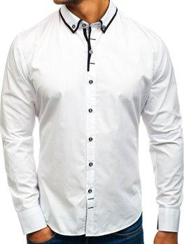 Biela pánska elegantá košeľa s dlhými rukávmi BOLF 8824