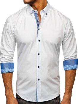 Biela pánska elegantá košeľa s dlhými rukávmi BOLF 8838
