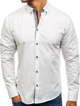Biela pánska elegantná košeľa s dlhými rukávmi BOLF 6943