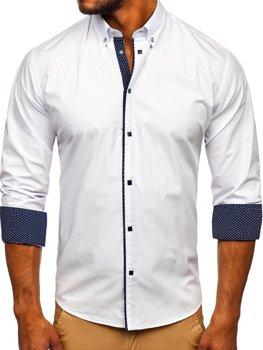 Biela pánska elegantná košeľa s dlhými rukávmi Bolf 7724