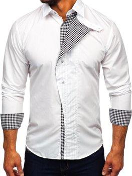 073cd3177 Biela pánska košeľa s dlhými rukávmi BOLF 5746-A