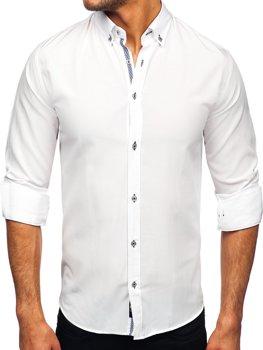 Biela pánska košeľa s dlhými rukávmi Bolf 20717