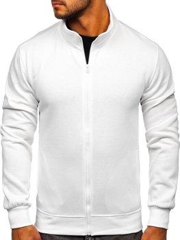 Biela pánska mikina na zips bez kapucne Bolf B2002