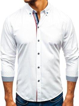 e19d584c9712 Biela pánska vzorovaná košeľa s dlhými rukávmi BOLF 8843