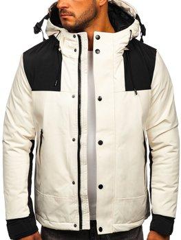 Biela pánska zimná bunda Bolf J1905