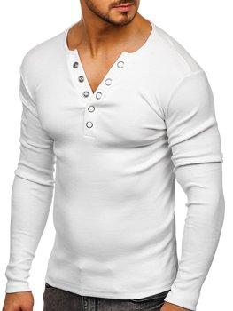 Biele pánske tričko s dlhými rukávmi bez potlače BOLF 145362