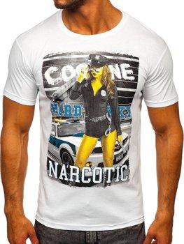 Biele pánske tričko s potlačou BOLF 004