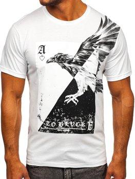 Biele pánske tričko s potlačou Bolf 142171