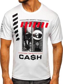 Biele pánske tričko s potlačou Bolf 14315