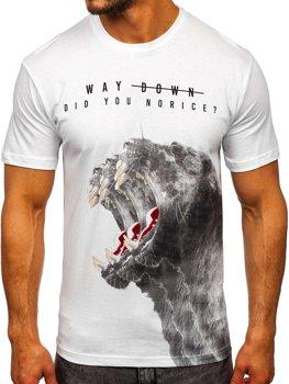 Biele pánske tričko s potlačou Bolf 181519