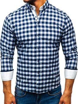 d318b545ecfb Bielo-tmavomodrá pánska károvaná košeľa s dlhými rukávmi BOLF 5816-A