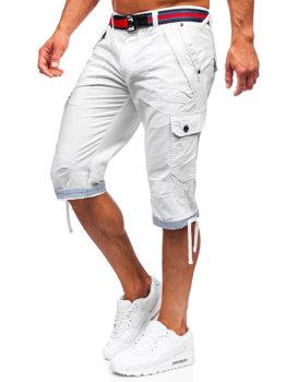 Bielo-tmavomodré pánske kapsáčové kraťasy s opaskom Bolf S001BB
