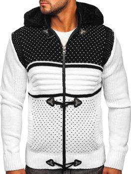 Biely hrubý pánsky sveter/bunda so zapínaním na zips s kapucňou Bolf 2047
