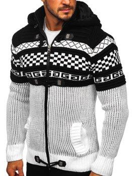 Biely hrubý pánsky sveter/bunda so zapínaním na zips s kapucňou Bolf 2061