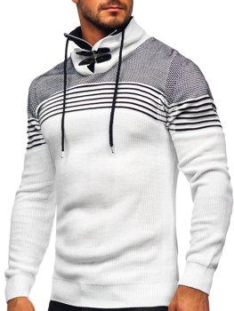Biely hrubý pánsky sveter so stojačikovým golierom Bolf 1039
