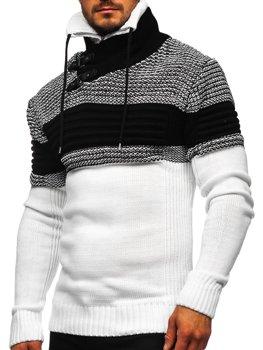 Biely hrubý pánsky sveter zo stojačikom Bolf 2002