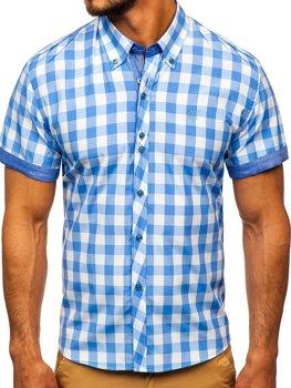 Blankytná pánska károvaná košeľa s krátkymi rukávmi BOLF 6522