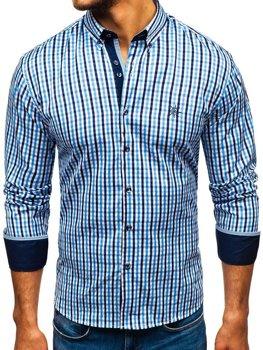080761ebff11 Blankytná pánska károvaná vichy košeľa s dlhými rukávmi BOLF 4712