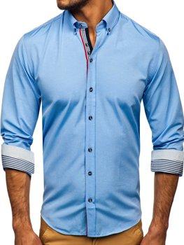 Bledomodrá pánska vzorovaná košeľa s dlhými rukávmi Bolf 8843