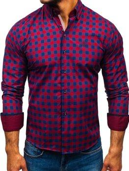 4eeea70bee7d Bordová pánska károvaná košeľa s dlhými rukávmi BOLF 5816-A