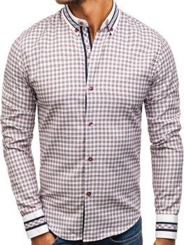 Bordová pánska károvaná košeľa s dlhými rukávmi BOLF 8808