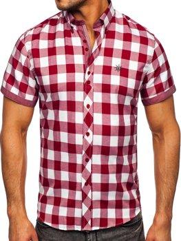 Bordová pánska károvaná košeľa s krátkymi rukávmi Bolf 6522