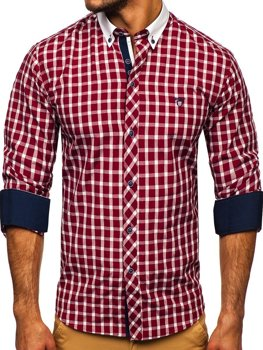 Bordová pánska kockovaná košeľa s dlhými rukávmi BOLF 5737