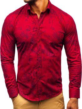 14fea3564b75 Bordová pánska vzorovaná košeľa s dlhými rukávmi BOLF 200G68