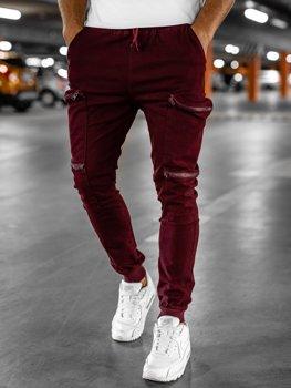 Bordové pánske kapsáčové jogger nohavice Bolf 0475