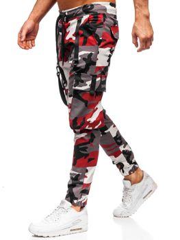 Bordovo-červené pánske kapsáčové joggery Bolf  11105