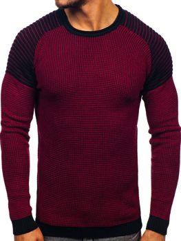 Bordovo-tamvomodrý pánsky sveter Bolf 0004
