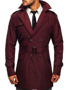 Bordový pánsky dvojradový kabát typu trenčkot s vysokým golierom a opaskom Bolf 0008
