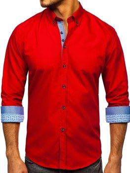 Červená pánska elegantá košeľa s dlhými rukávmi BOLF 8838