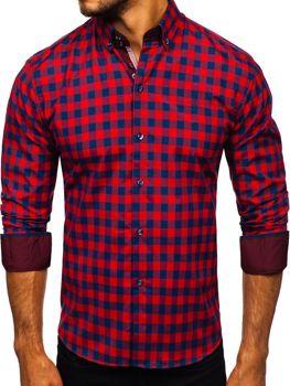 Červená pánska károvaná košeľa s dlhými rukávmi Bolf 4701