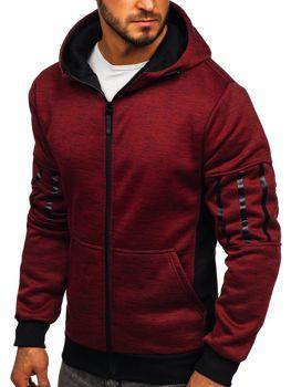 Červená pánska mikina na zips s kapucňou Bolf 80581