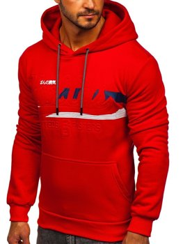 Červená pánska mikina s kapucňou a potlačou Bolf KS2136