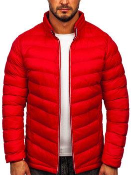 Červená pánska prešívaná športová zimná bunda Bolf 1100