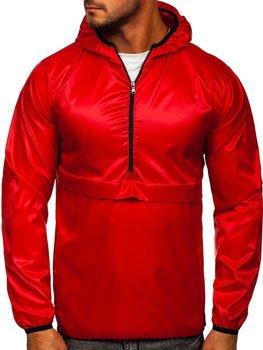 Červená pánska športová prechodná bunda s kapucňou Bolf 5061