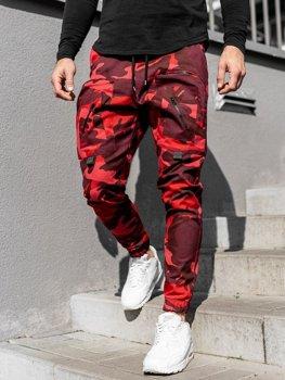 Červené pánske jogger nohavice Bolf 0956