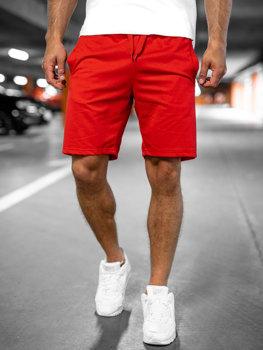 Červené pánske teplákové šortky Bolf K10003