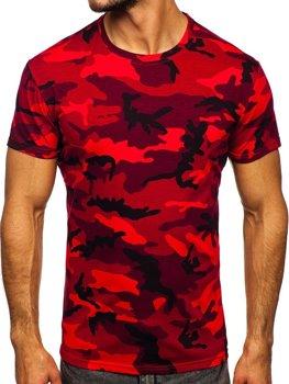 Červené pánske tričko s maskačovým vzorom Bolf S807